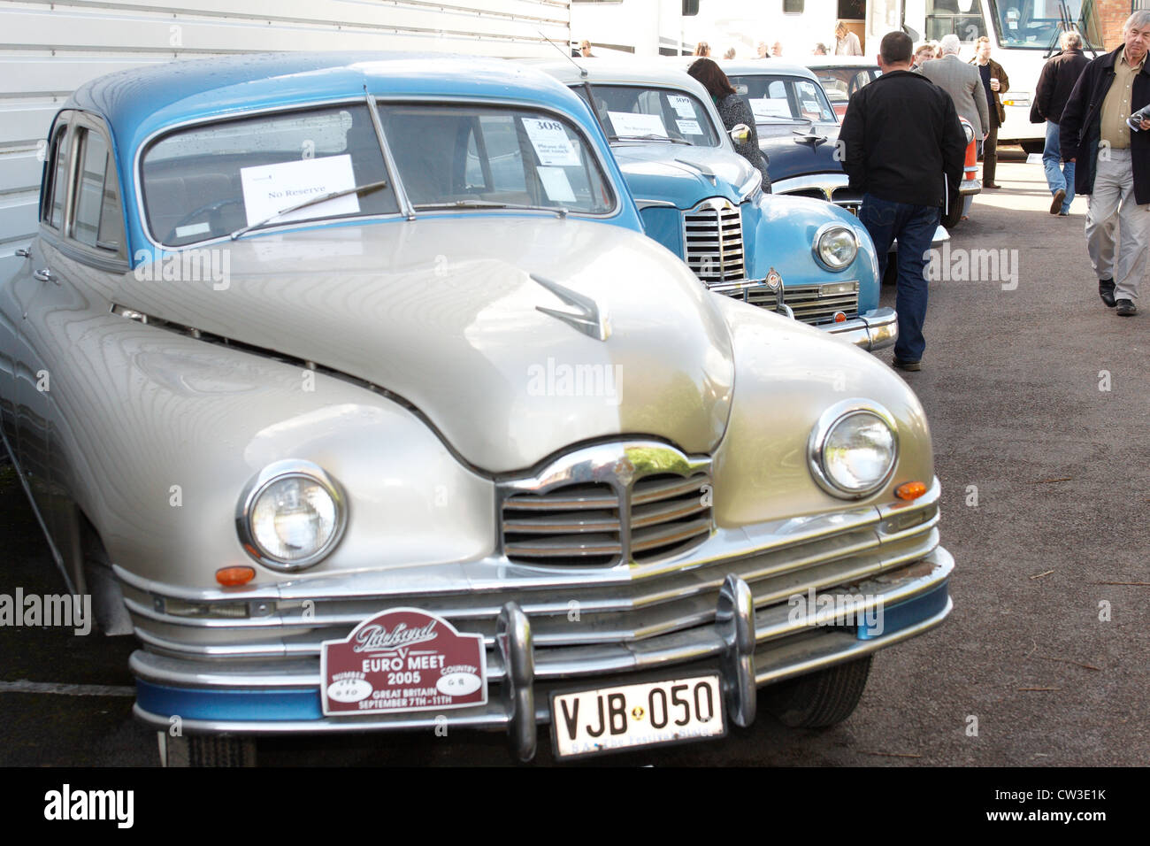 A number of 1940s vintage Packard cars form part of a classic car ...
