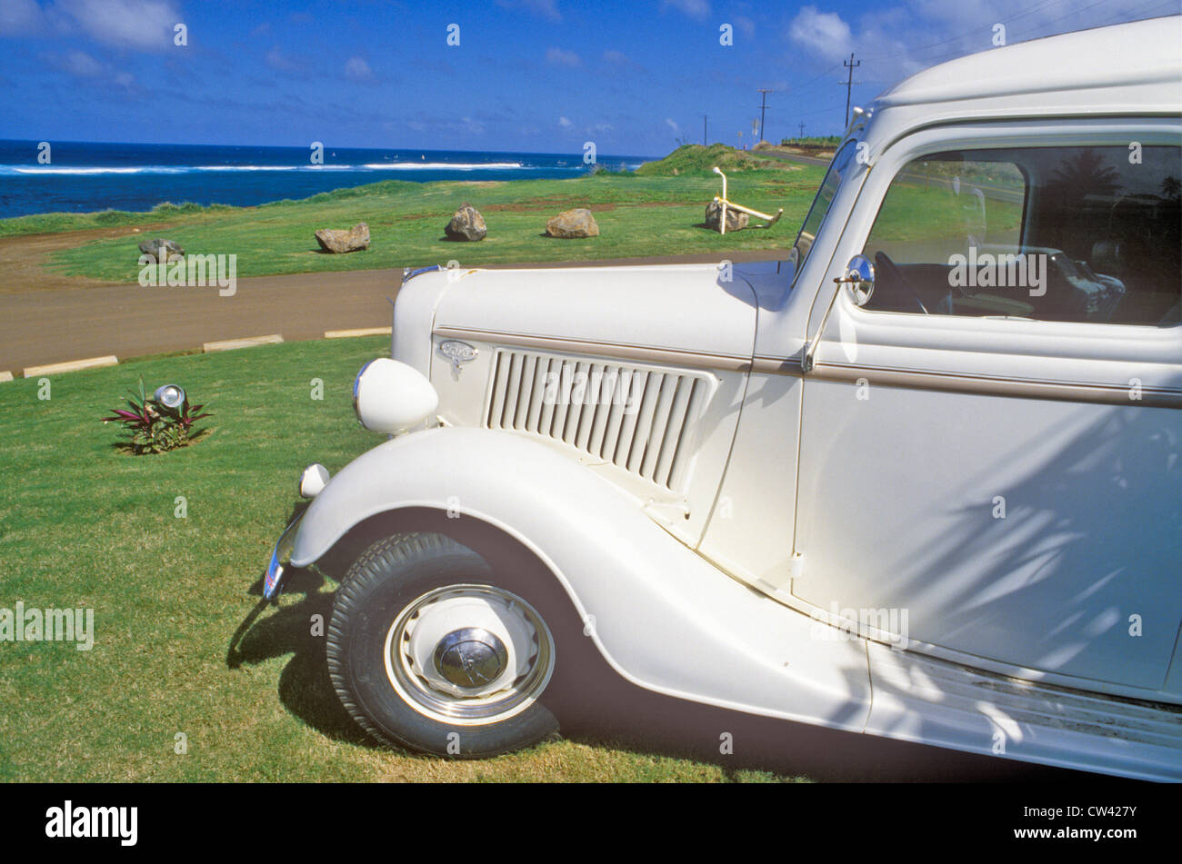 Vintage Automobile by the Ocean in Maui, Hawaii Stock Photo ...