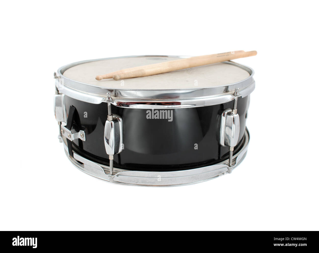 snare drum and drumsticks on a white background short depth of stock photo royalty free image. Black Bedroom Furniture Sets. Home Design Ideas