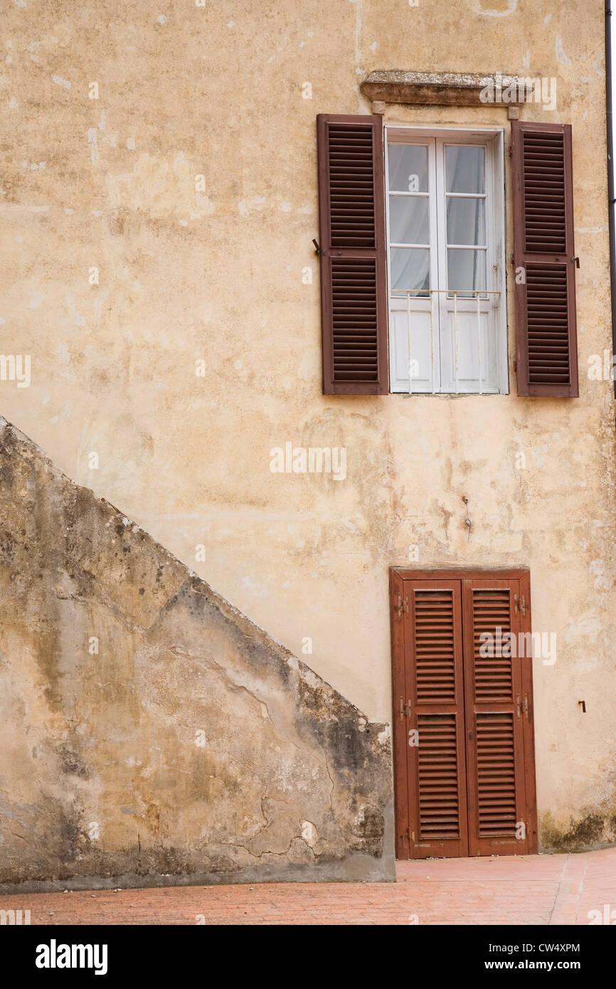 Exterior view doorways on island Elba in Tuscan Archipelago Italy Europe where Napoleon Bonaparte was exiled in 1814 & Exterior view doorways on island Elba in Tuscan Archipelago Italy ...