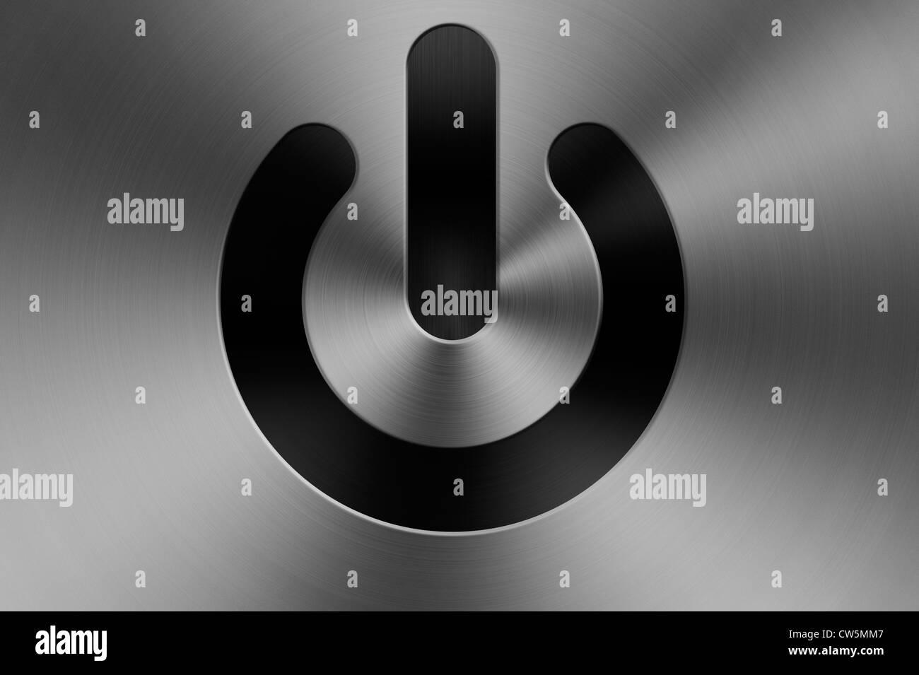 A power standby symbol on a brushed aluminium apple mac style a power standby symbol on a brushed aluminium apple mac style computer background biocorpaavc