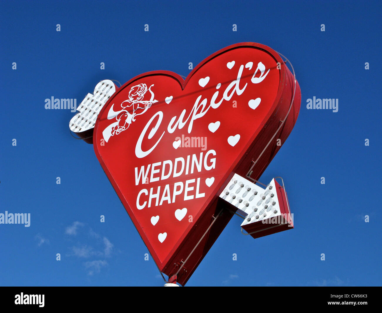 Red Heart Shape Sign With Neon Arrow For Cupids Wedding Chapel In Las Vegas Nevada USA