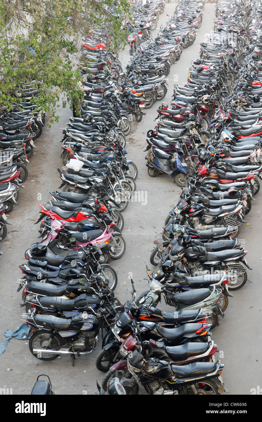 A Packed Motor Bike Park In India Stock Photo Royalty Free Image
