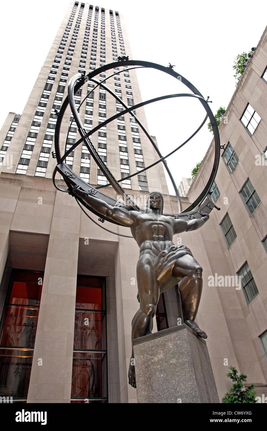Atlas Statue Rockefeller Plaza Center New York City