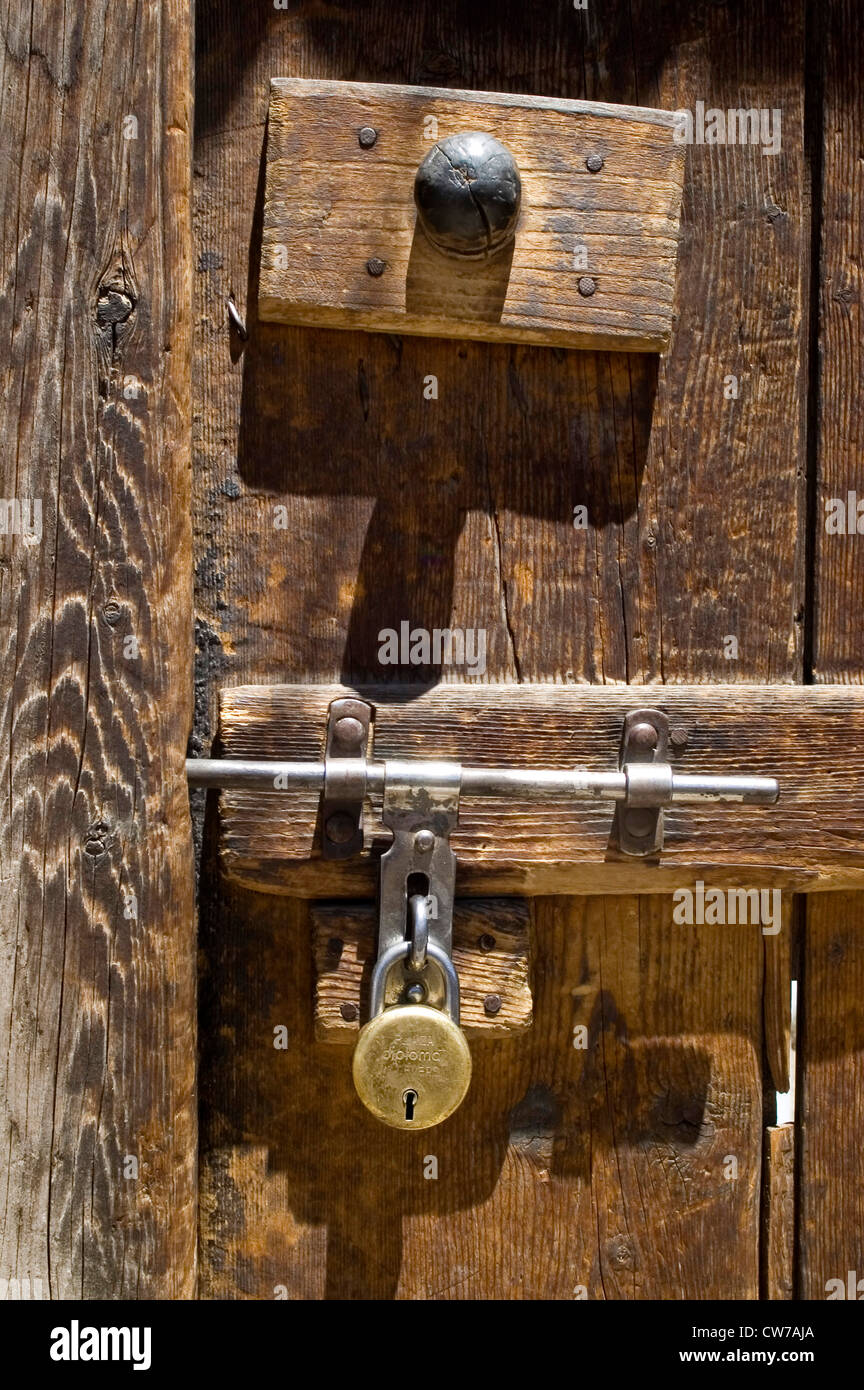 door with lock at a old house, India, Ladakh Stock Photo, Royalty ...