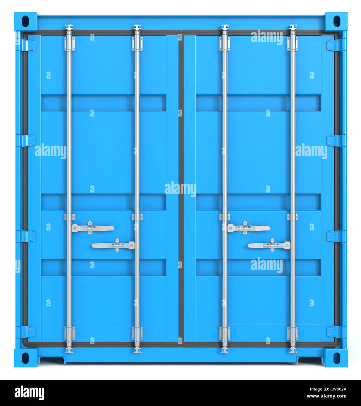 cargo container front closed blue cargo container