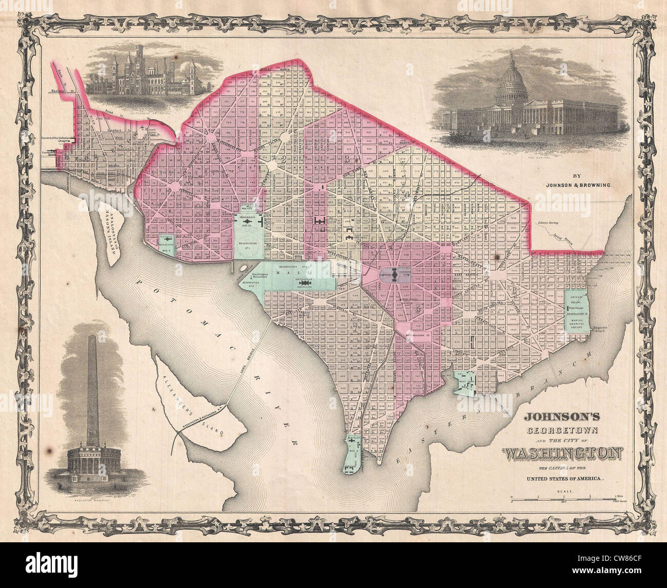 1861 Johnson Map of Washington DC and Georgetown Stock Photo