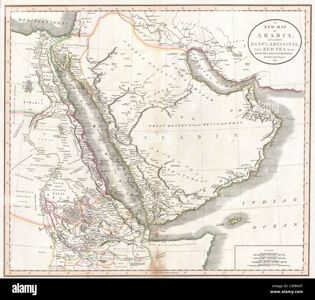 1811 Cary Map Of Arabia Egypt Abyssinia Photo Royalty – Map of Arabia