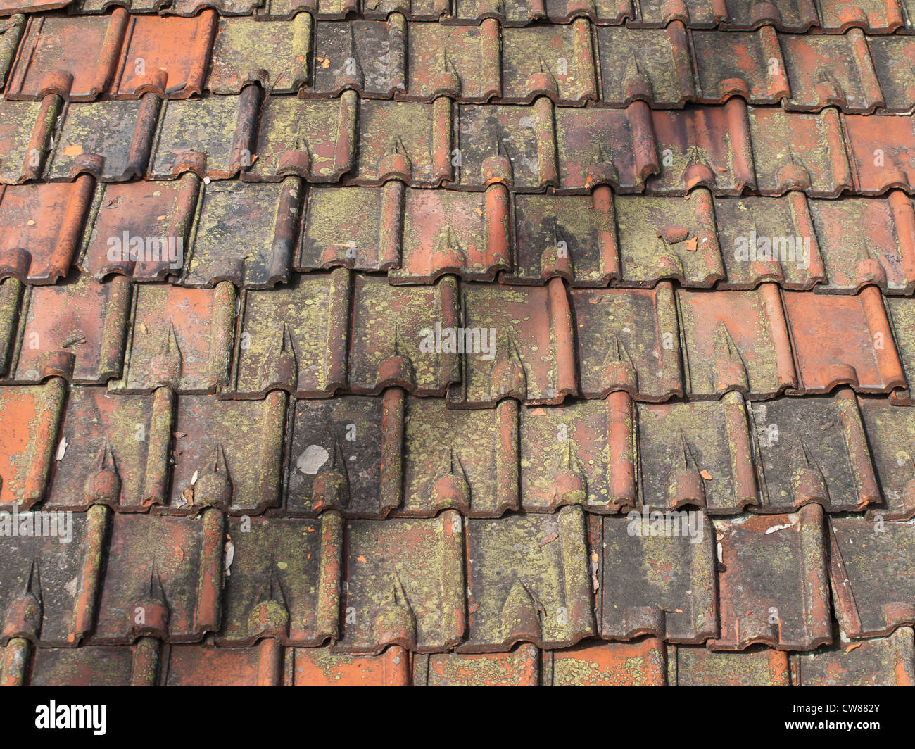 Old Roof Tiles Made From Clay In Varying Colors With