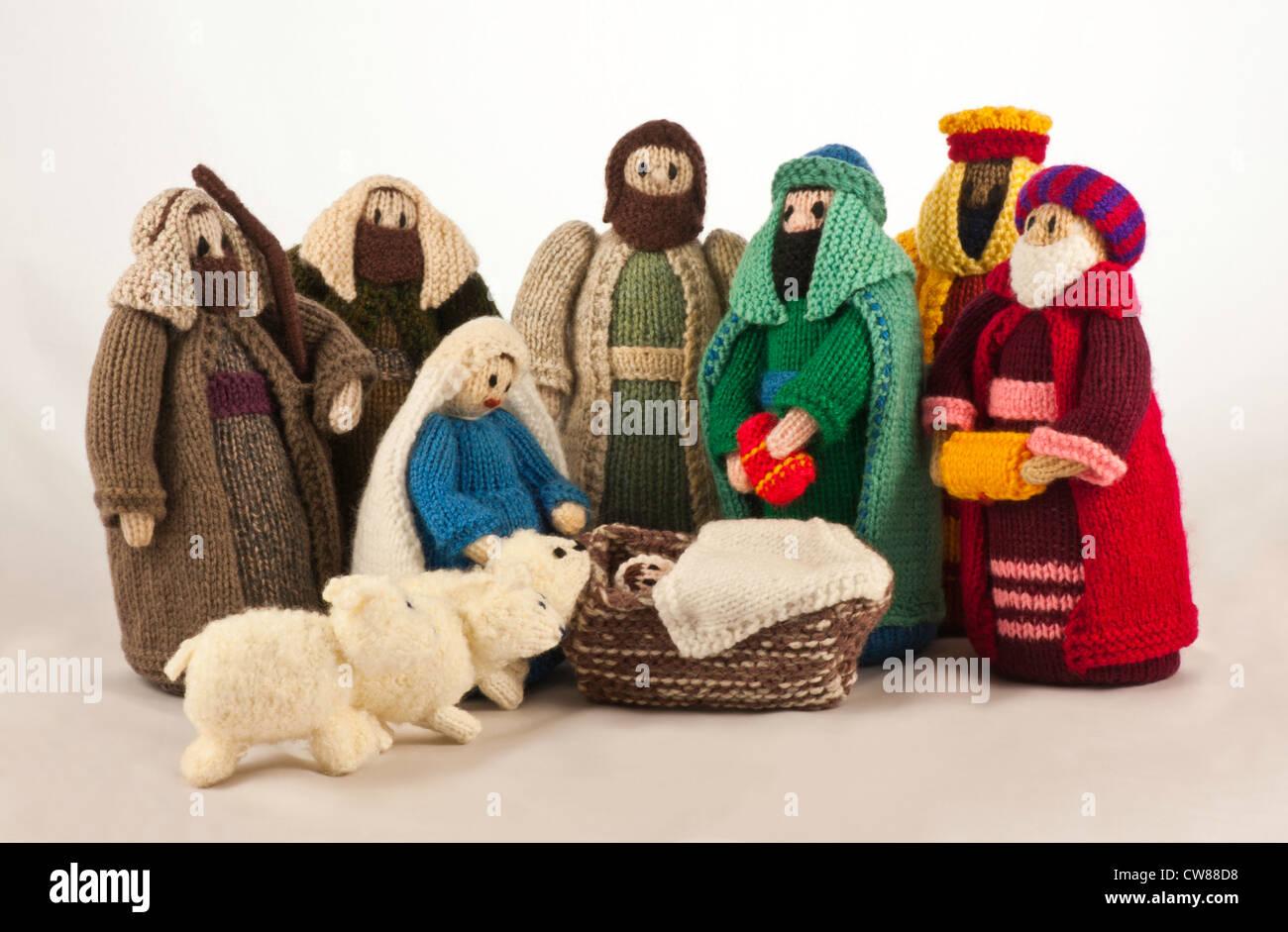 Knitted Nativity Scene With Mary, Joseph, Baby Jesus, Two Shepherds Stock Pho...