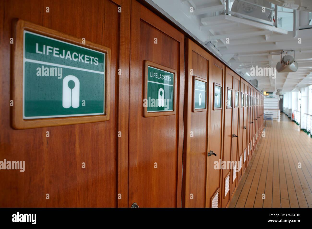 Life Jackets Storage On P U0026 O Cruise Ship Azura   Stock Image