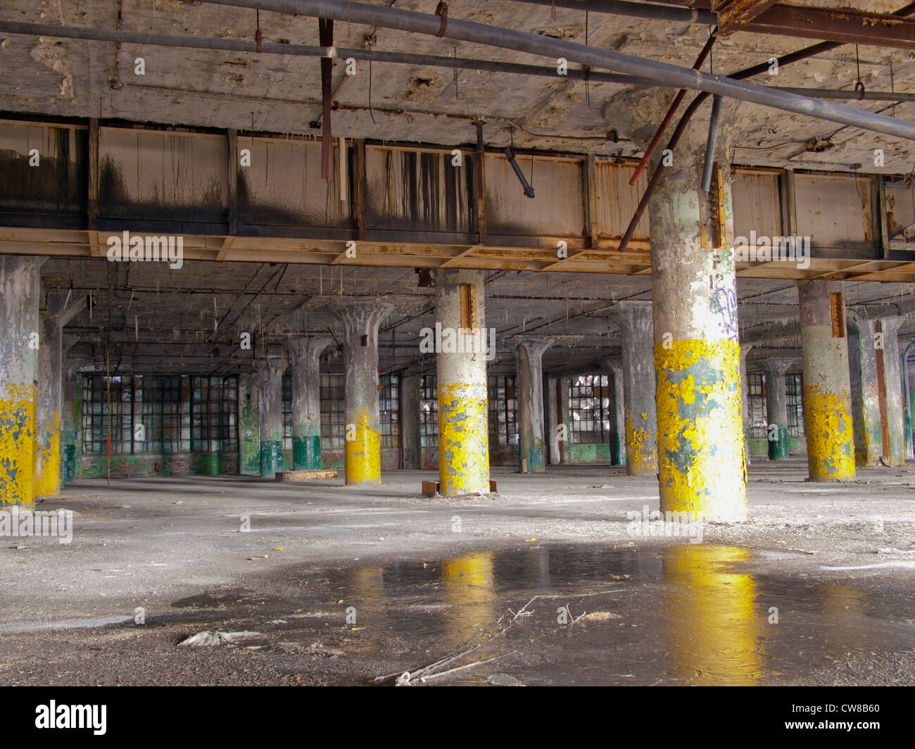 interior of an abandoned car factory in detroit michigan the windows stock photo 49971544 alamy. Black Bedroom Furniture Sets. Home Design Ideas