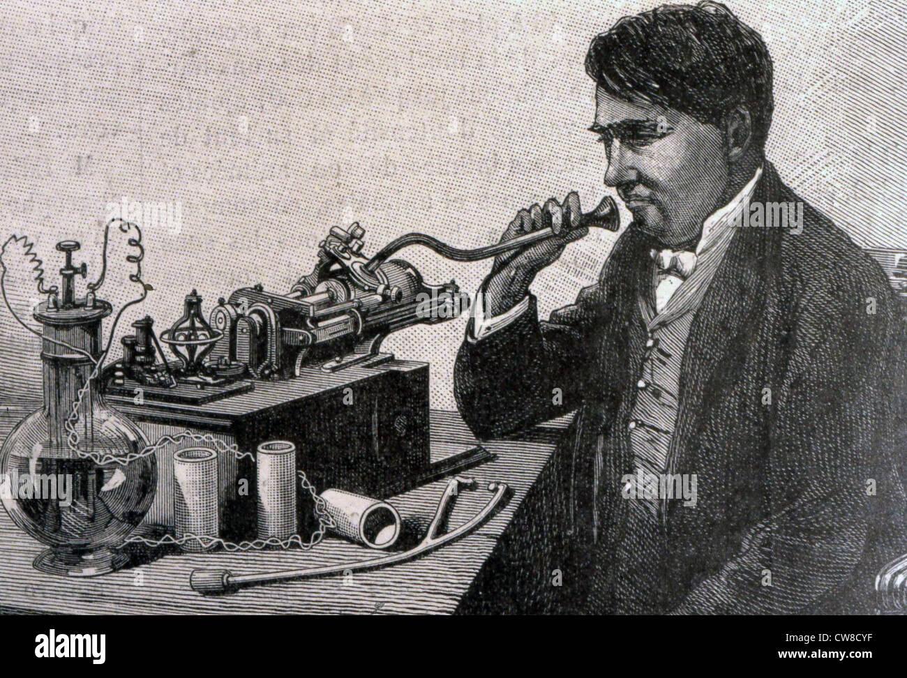 Thomas Edison with his Gramophone Stock Photo, Royalty Free Image ... for Thomas Edison Telegraph  113lpg