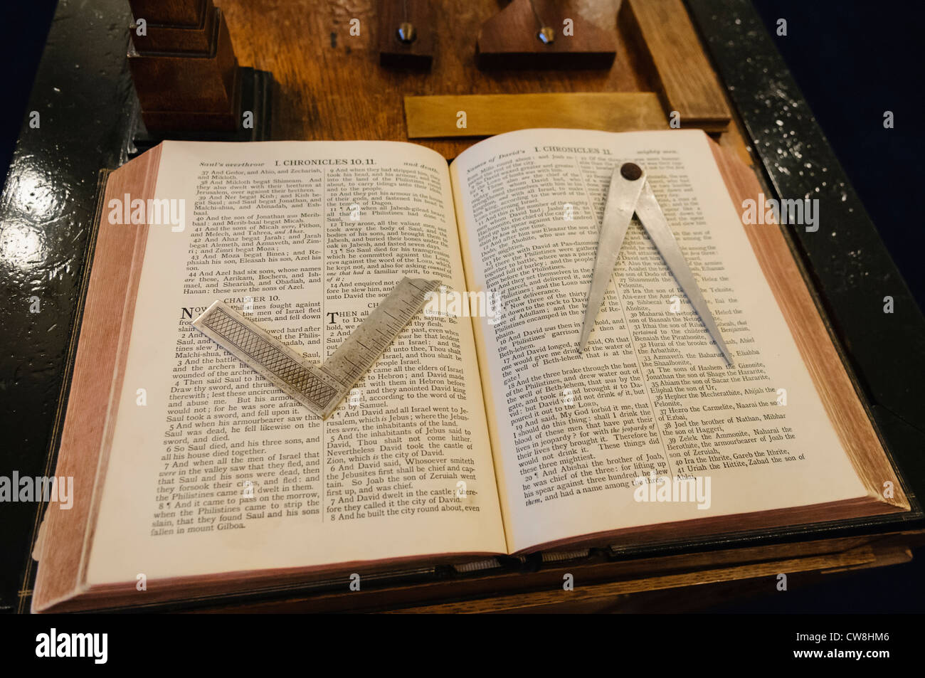 King James Bible On A Masonic Altar With A Set Square And