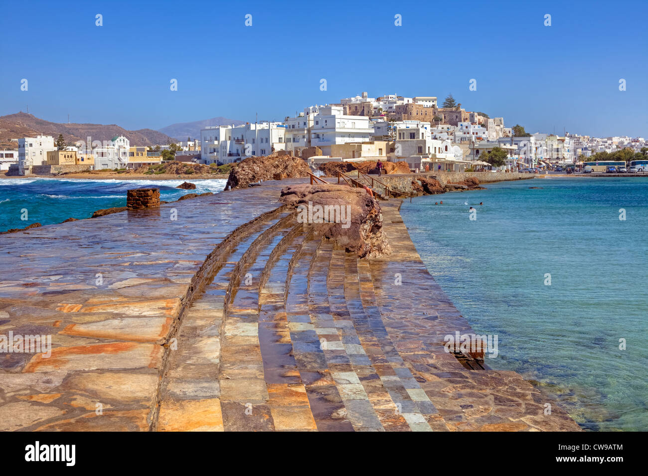 view of the chora of naxos greece stock photo royalty free image