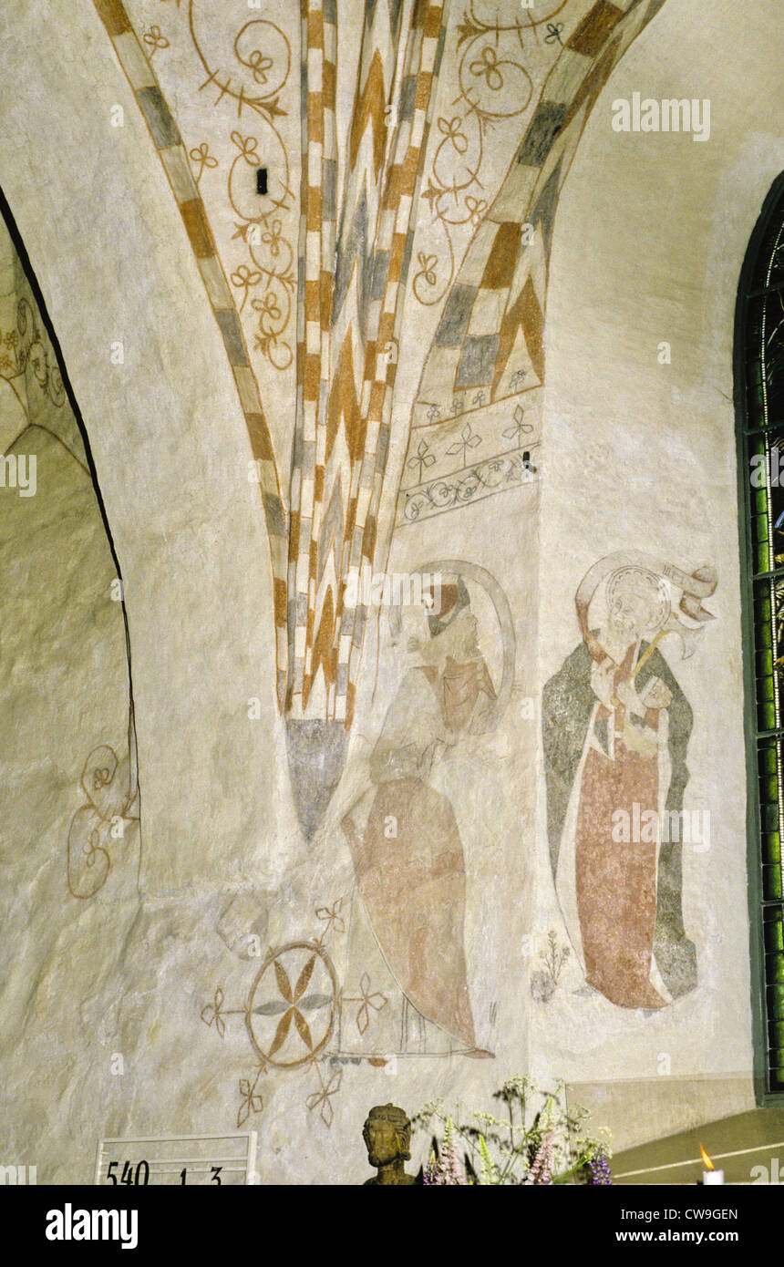 Wall mural inside the 15th century medieval church of st wall mural inside the 15th century medieval church of st catherine in raseborg formerly karis finland amipublicfo Image collections