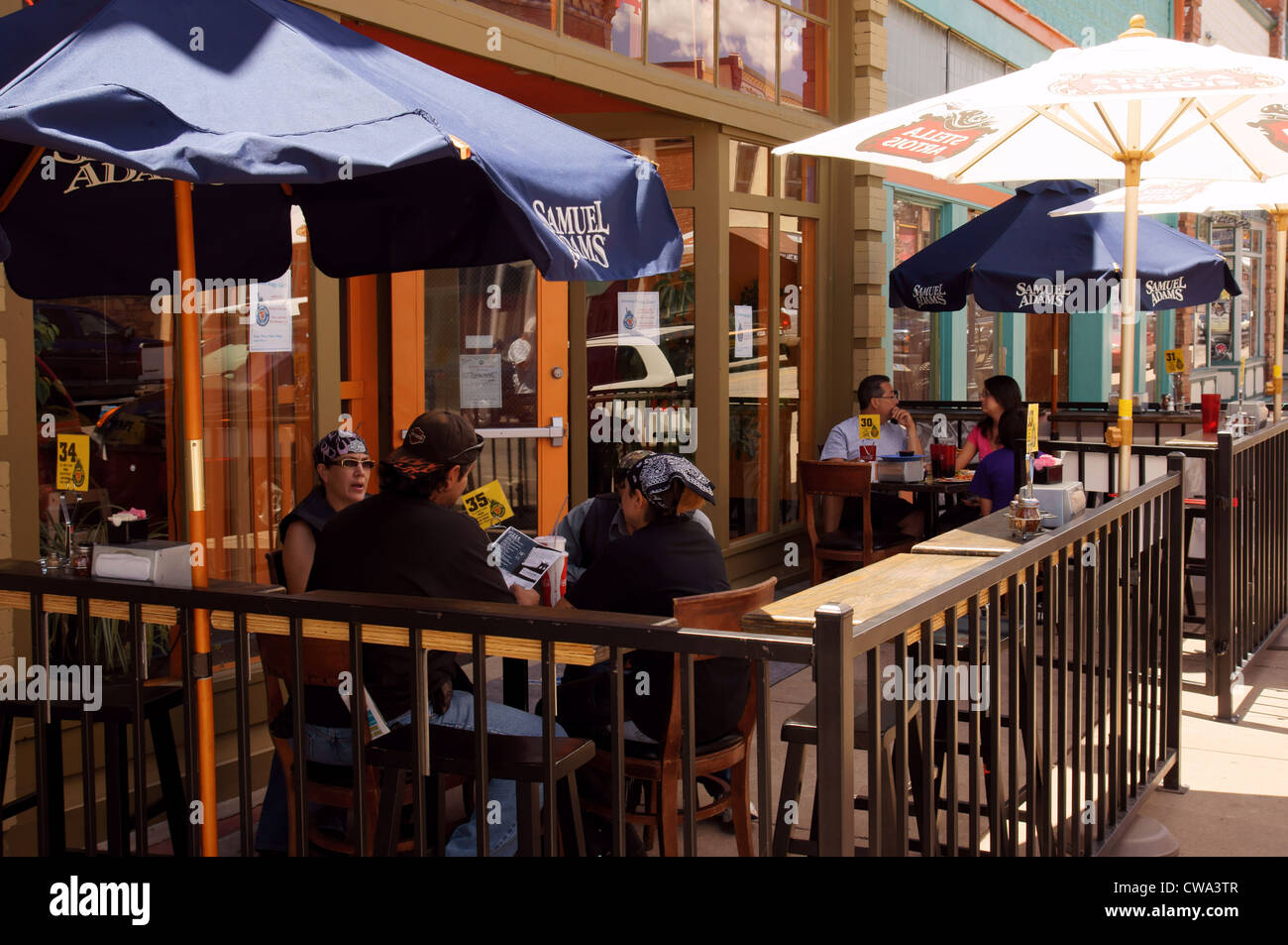 Stock Photo   Outdoor Cafe Patio Restaurant Table Las Vegas Nm Food People  House Person New Mexico Hispanic Latino Youk
