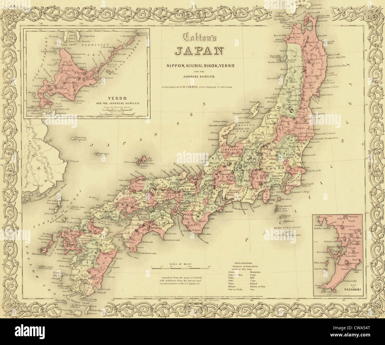 1855 map of Japan showing prefecture boundaries Stock Photo