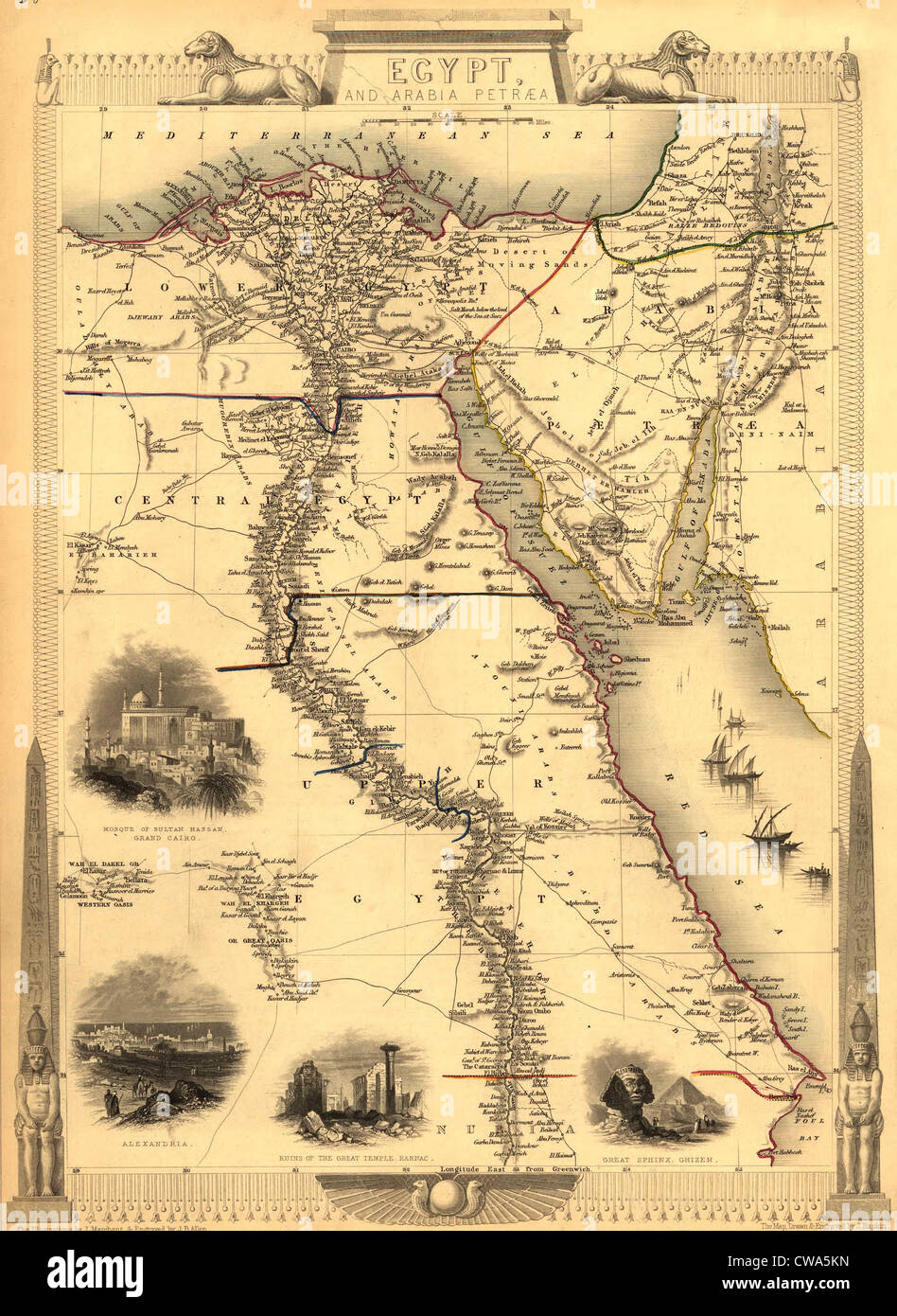Map Of Egypt With Engravings Of The Cairo Alexandria - Map of egypt pyramids and sphinx
