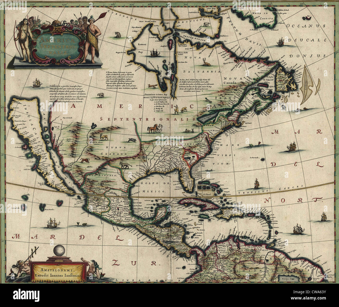 North American map created in 1652 showing California as an island