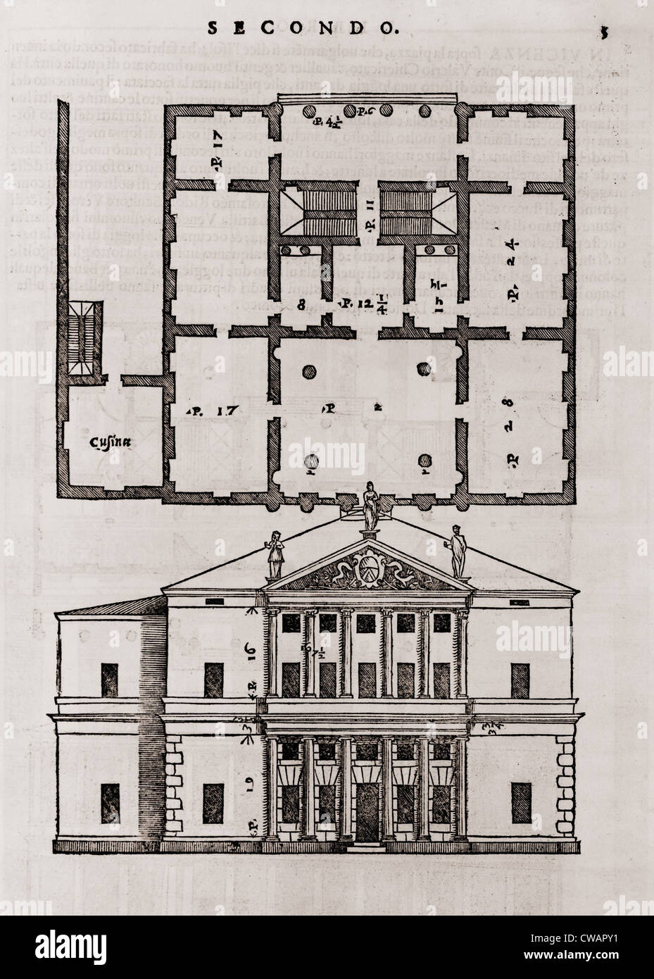 Floor plan and elevation of a classical style house from for Palladian house plans