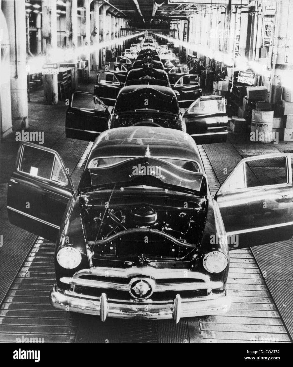 1949 Ford Cars Sit On A Deserted Assembly Line During The 25 Day Strike Called By United Auto Workers To Oppose Henry