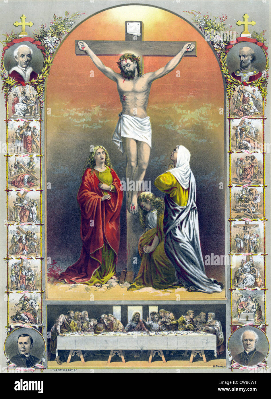jesus christ the crucifixion and the way of the holy cross stock