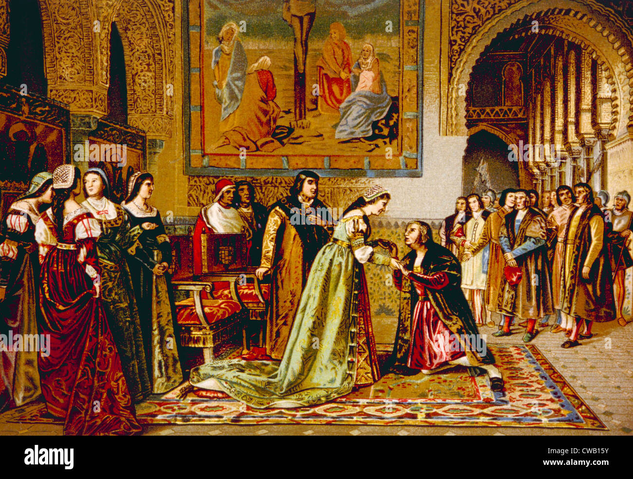 christopher columbus received by king ferdinand and queen isabella