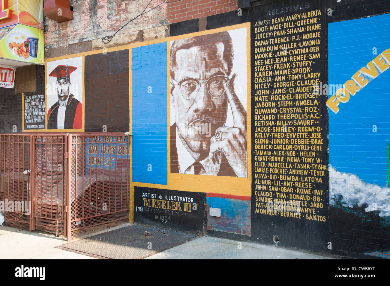 Memorial mural to malcolm x on a wall in bedfordstuy for Malcolm x mural