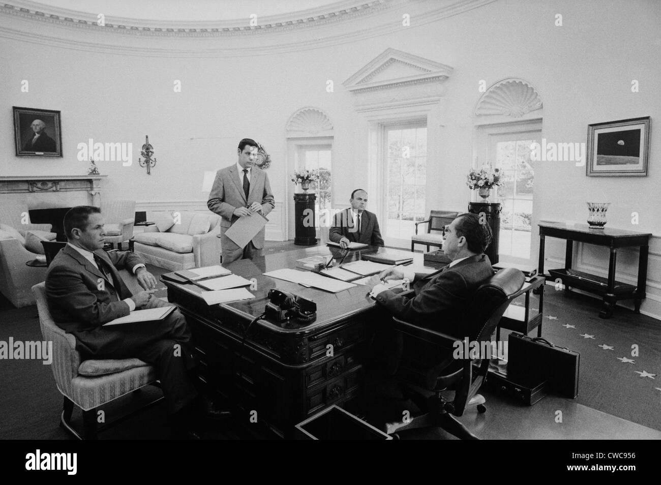 nixon office. President Nixon Meets With Chief Advisers In The Oval Office. L To R H.R. Haldeman Dwight Chapin John D. Ehrlichman Richard Office A