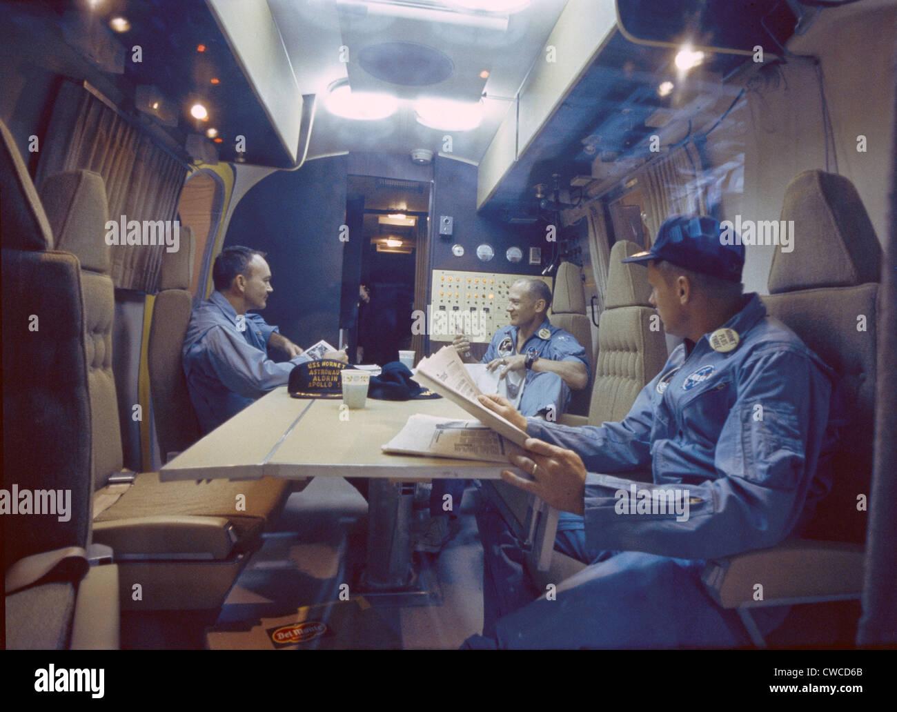 Apollo 11 Astronauts in quarantine trailer on the USS ...