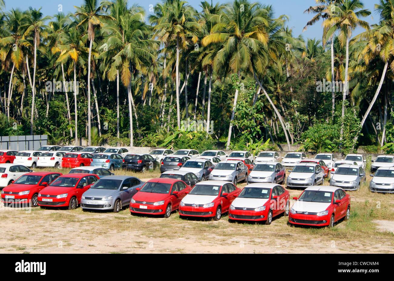 Volkswagen Car Showroom in Trivandrum city Kerala IndiaLot of New