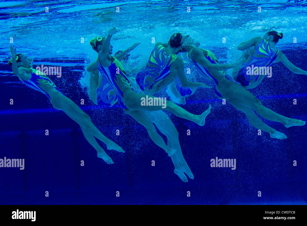 stock photo underwater view of synchronized swimming team at the olympic summer games london 2012