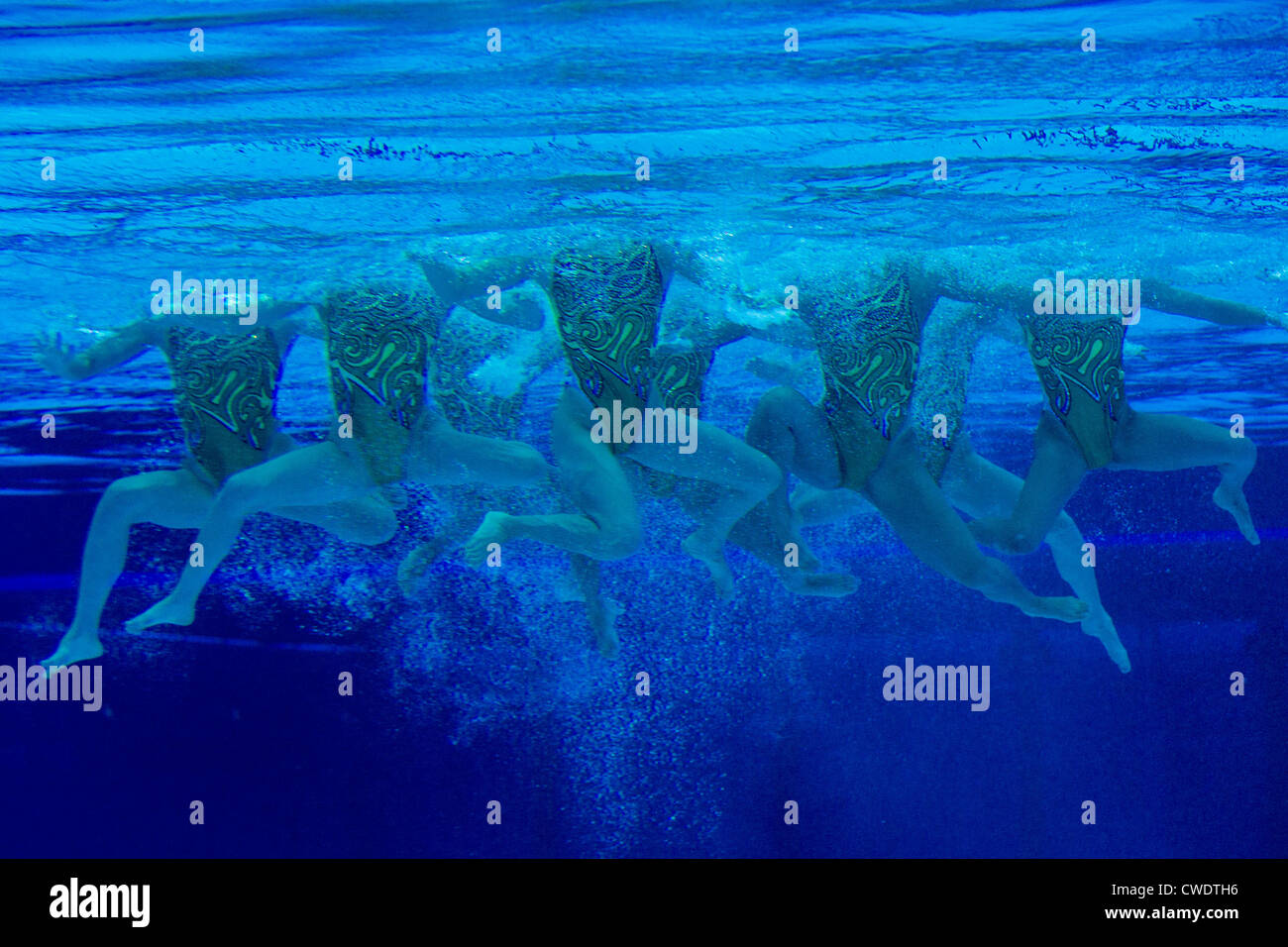 stock photo underwater view of japanese synchronized swimming team at the olympic summer games london 2012