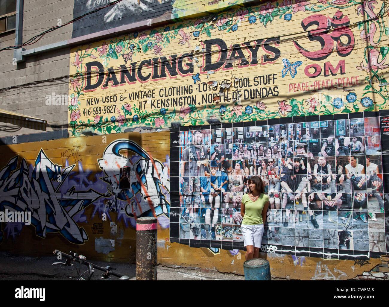 Graffiti wall toronto downtown - Graffiti Wall Toronto S Famous Historical Multicultural Kensington Market Near Spadian And Dundas Sts In Toronto Ontario Canada