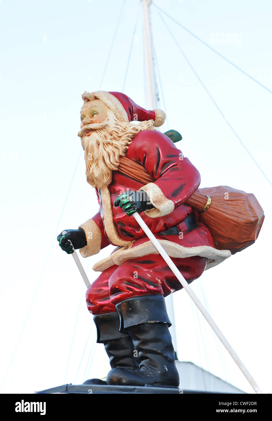 close up of santa claus retro statue in stockholm sweden stock