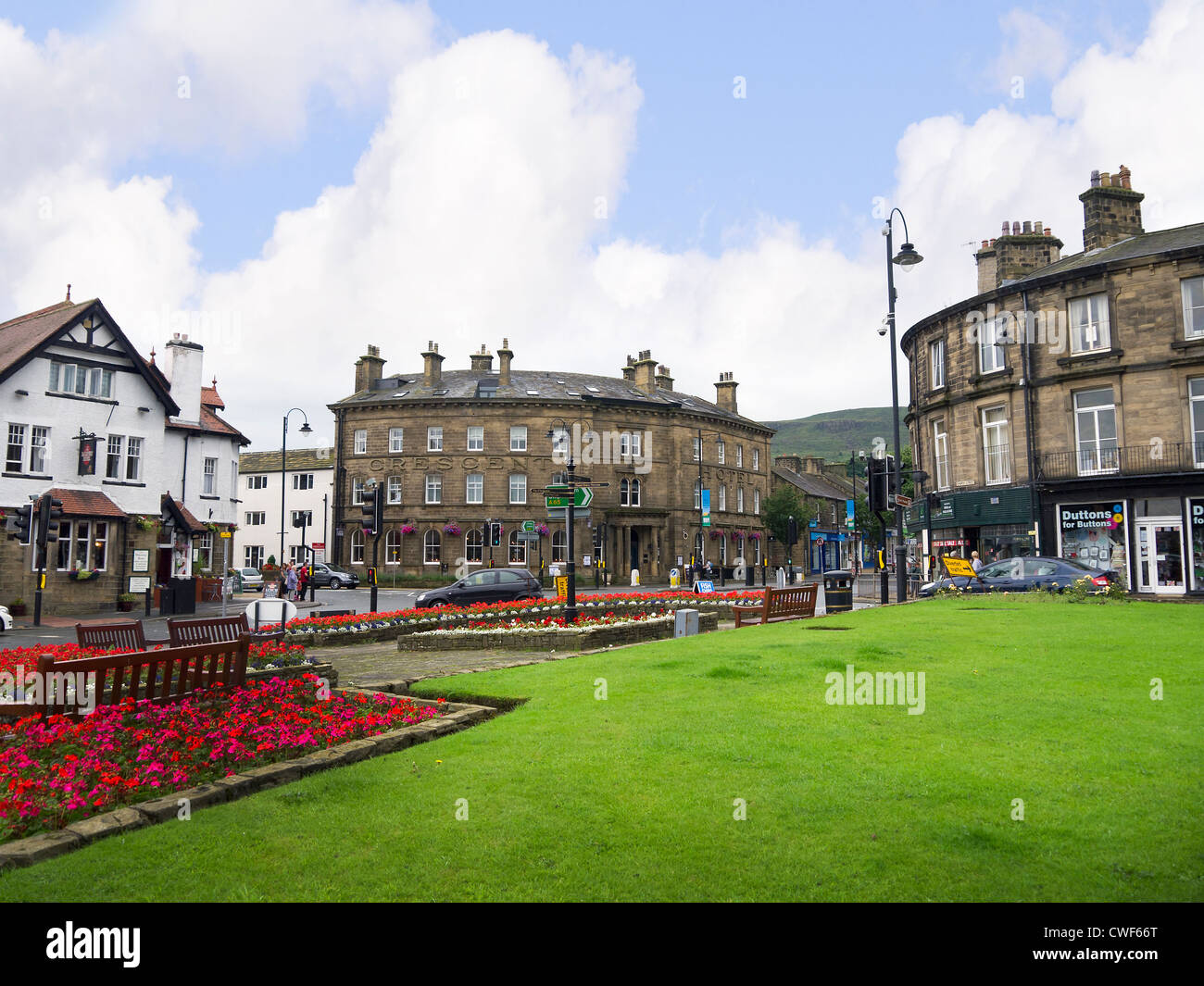 the town centre in ilkley in west yorkshire england stock photo