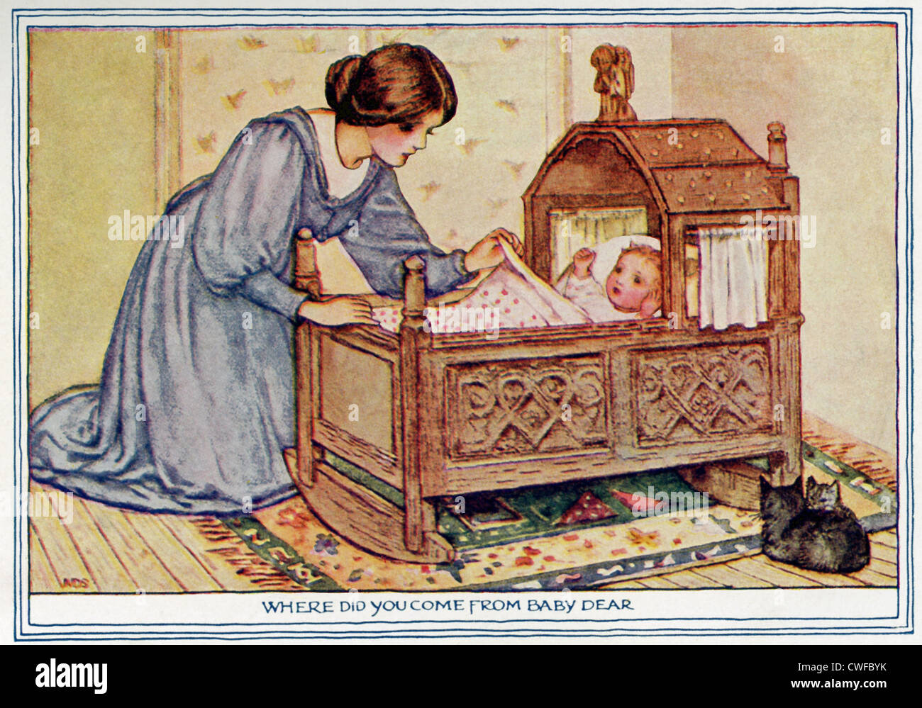 A 1917 Illustration Of A Mother Rocking Her Baby In A