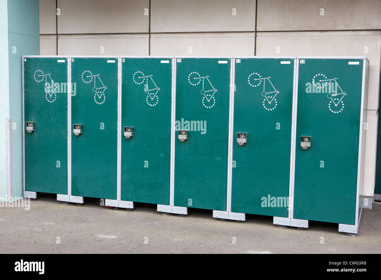 Bicycle Bike Storage Lockers At A Work Place Building In Edinburgh,  Scotland, Uk, United Kingdom