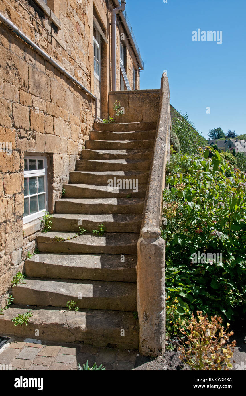 Delightful Stock Photo   Stone House With Outside Exterior Stone Staircase Chipping  Campden Cotswolds Gloucestershire England