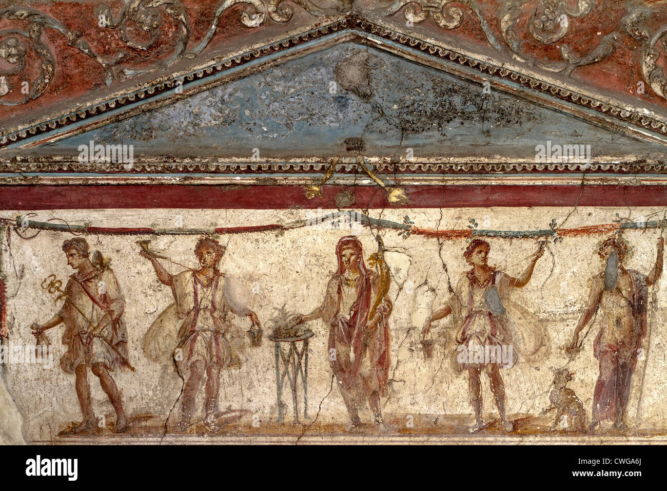 ancient roman mural at the excavated city of pompeii stock