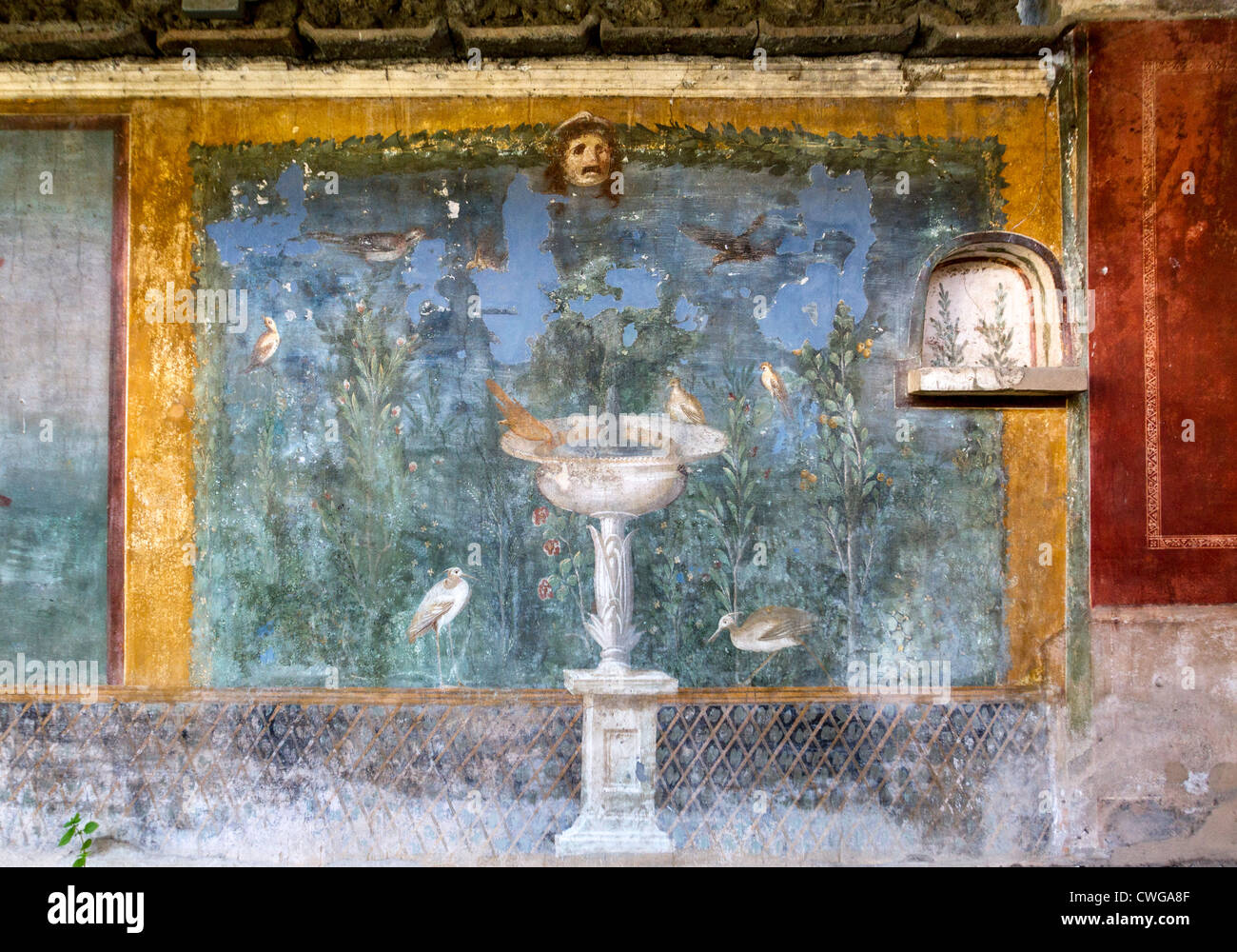 Ancient Roman Mural At The Roman City Of Pompeii Depicting