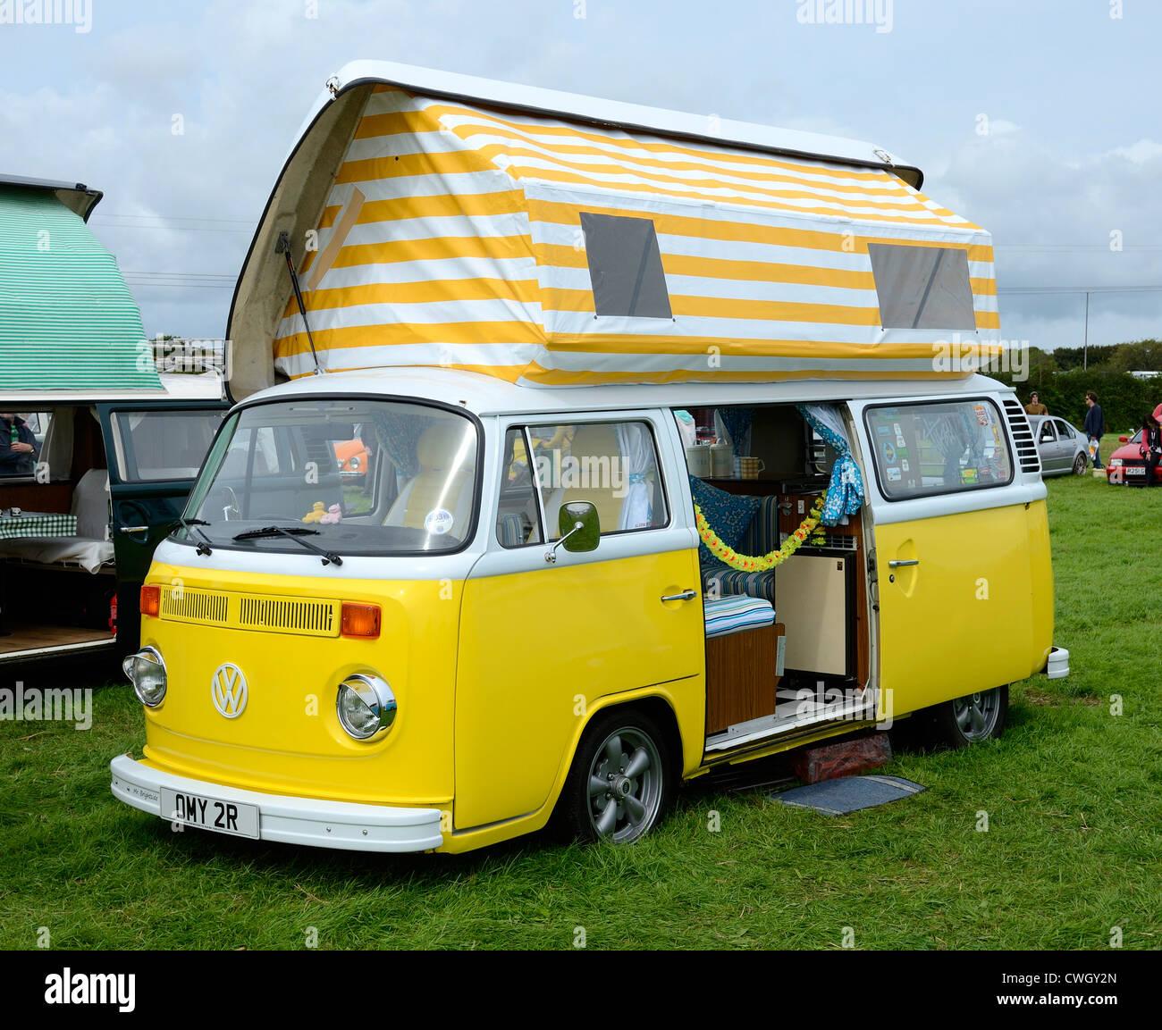 A vw camper van at a volkswagen rally in cornwall uk