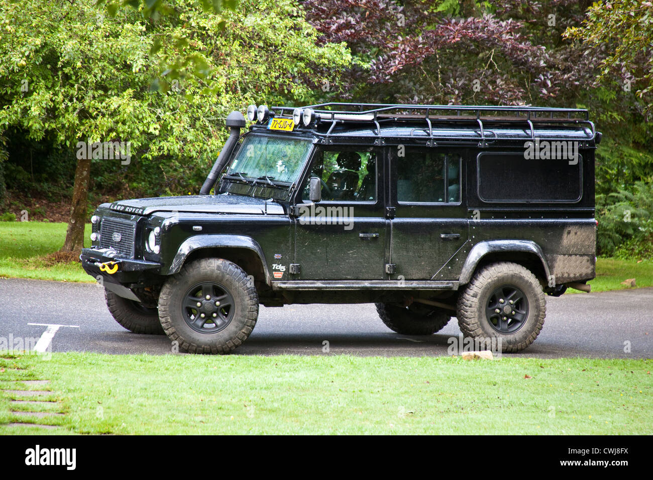 black land rover defender 110 cornwall england united kingdom stock photo royalty free image. Black Bedroom Furniture Sets. Home Design Ideas