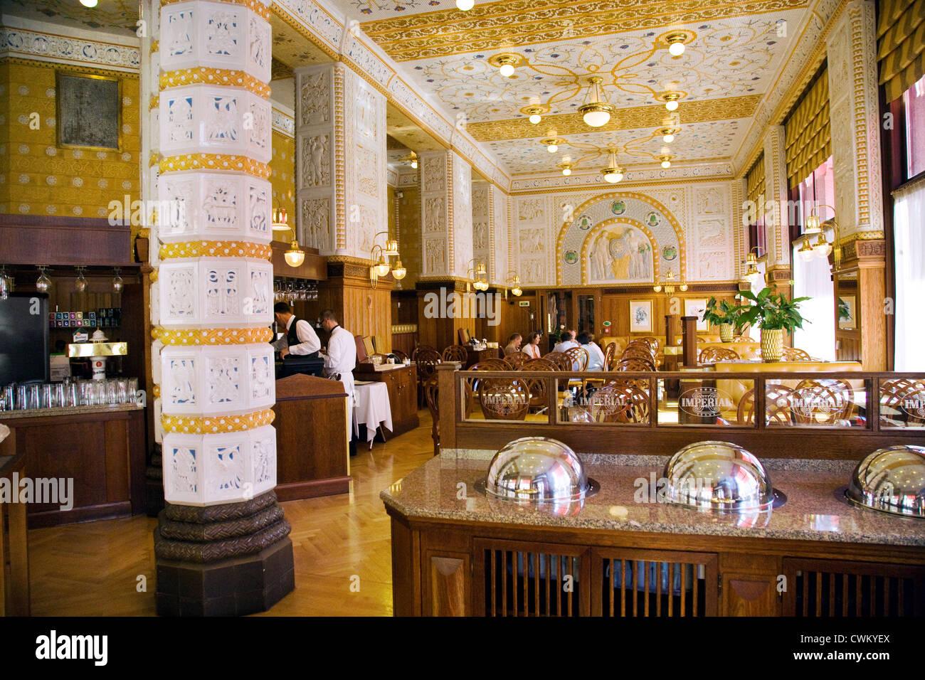 nouveau cafe restaurant prague deco imperial hotel praha stock photo royalty free