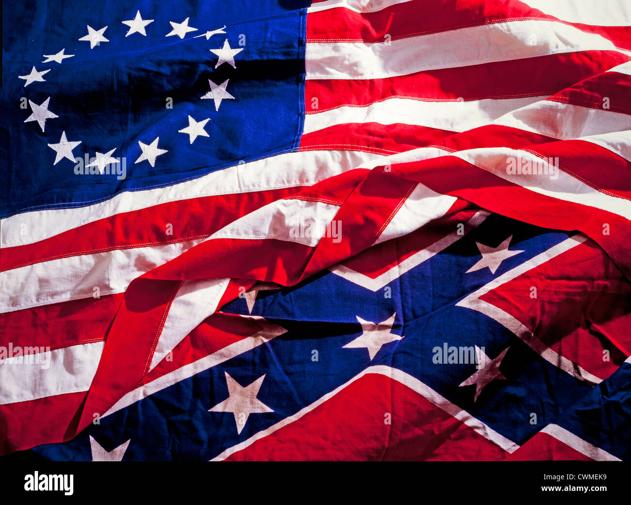 Civil War Flags North And South Confederate Union Stock Photo - north flags