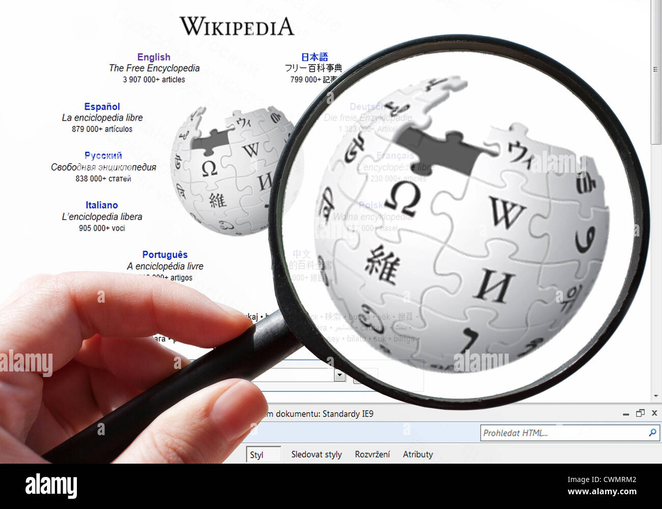 Czech Internet Search In Encyclopedia Wikipedia Stock Photo - Wikipedia royalty free images
