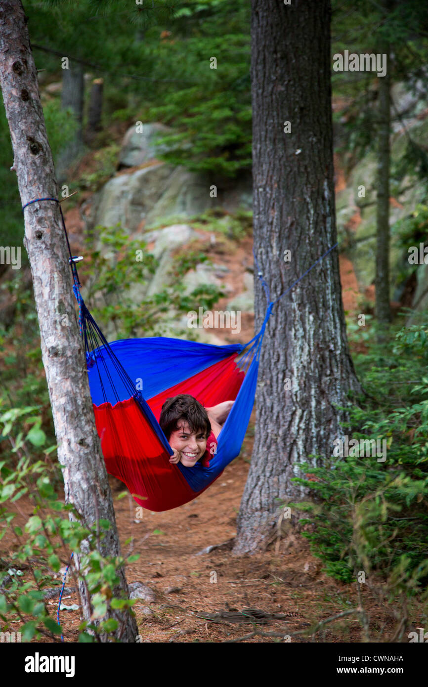 algonquin provincial park ontario canada   joey west 13 in a hammock at a backcountry campsite algonquin provincial park ontario canada   joey west 13 in a      rh   alamy