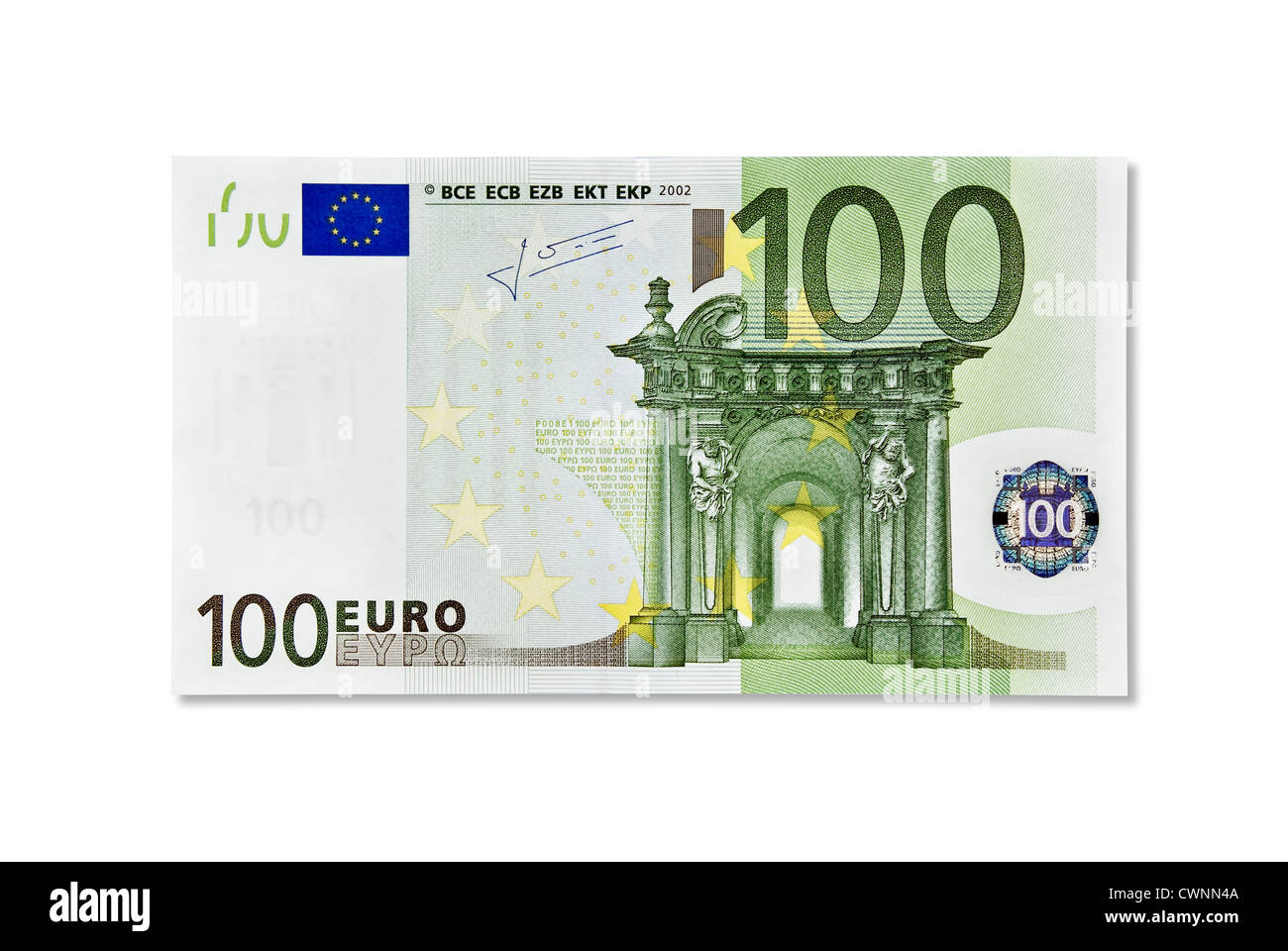 one 100 euro banknote one hundred euro european currency isolated stock photo royalty free. Black Bedroom Furniture Sets. Home Design Ideas