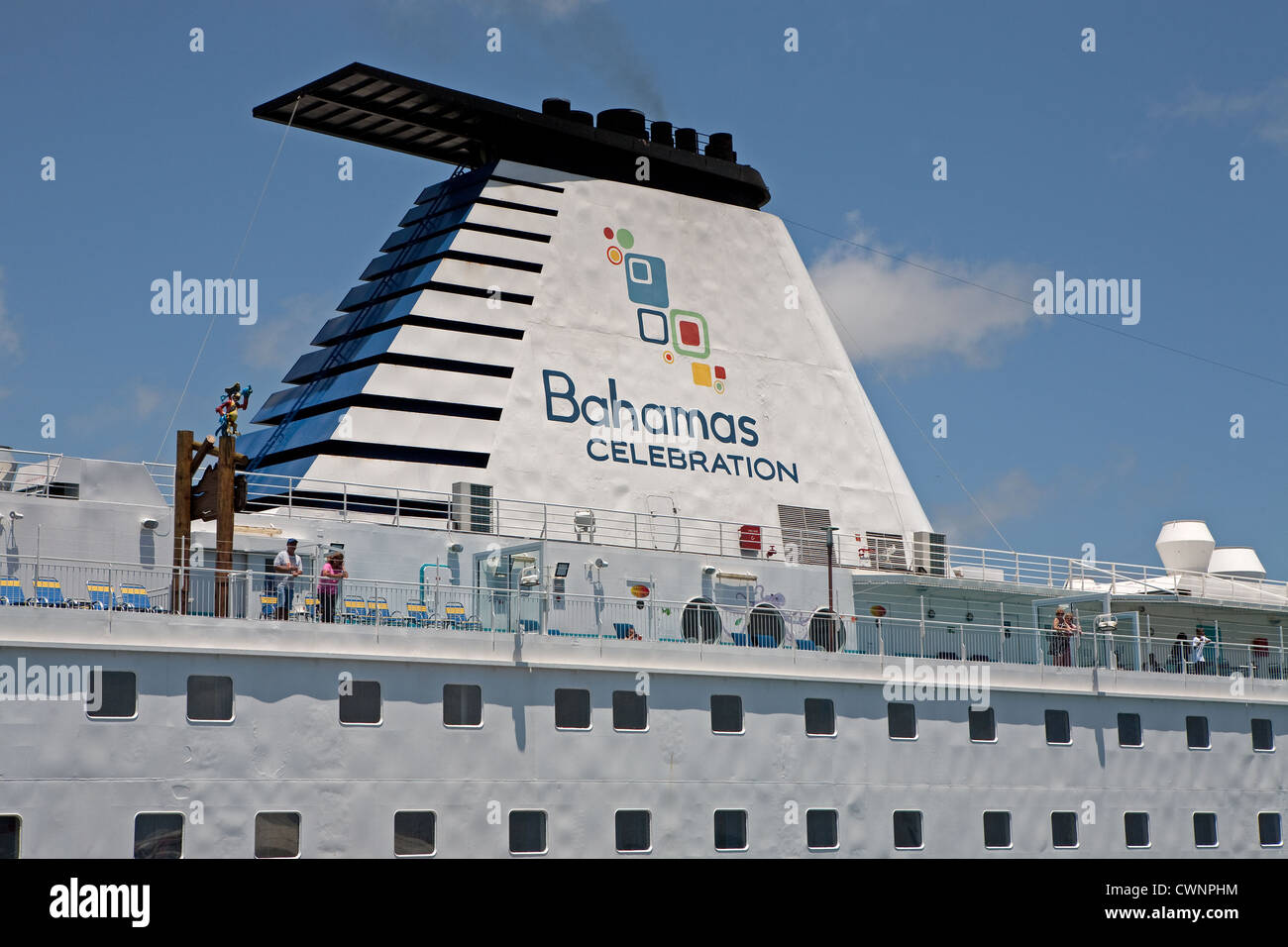 Bahamas Celebration Cruise Line Ship Smoking Funnel Docked In - Is there smoking on cruise ships